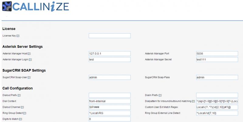 Callinize - SugarCRM + Asterisk integration