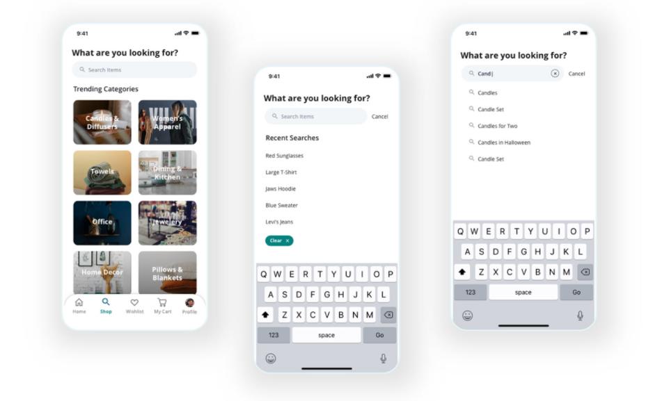 e-Commerce App Design: Tip 3. Smart Search