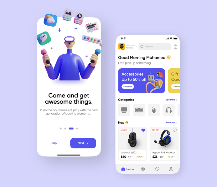 e-Commerce App Design: Trend 4. 3D Icons and Illustrations